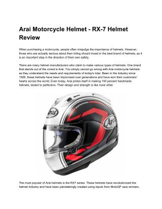 Arai Motorcycle Helmet - RX-7 Helmet Review