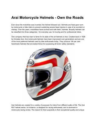 Arai Motorcycle Helmets - Own the Roads