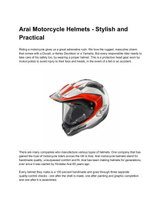 Arai Motorcycle Helmets - Stylish and Practical