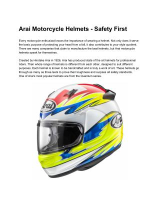 Arai Motorcycle Helmets-Safety First