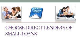 Choose Direct Lenders of Small Loans