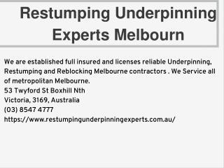 Restumping Underpinning Experts Melbourn
