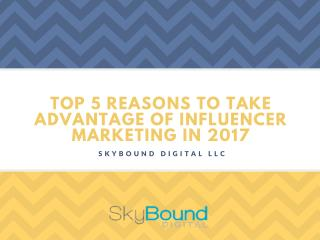 Top 5 Reasons To Take Advantage Of Influencer Marketing In 2017