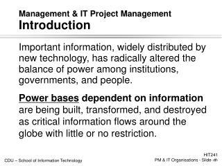 Management  IT Project Management Introduction