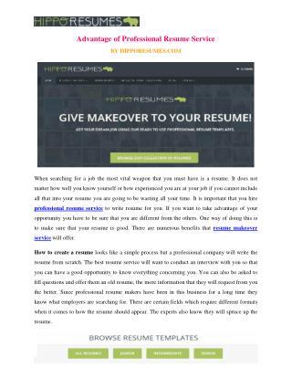 Advantage of Professional Resume Service