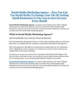 Social Media Marketing Agency review and sneak peek demo