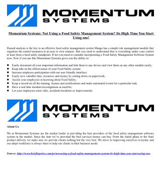 Momentum Systems: Not Using a Food Safety Management System? Its High Time You Start Using one!