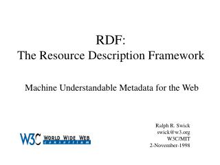 RDF: The Resource Description Framework