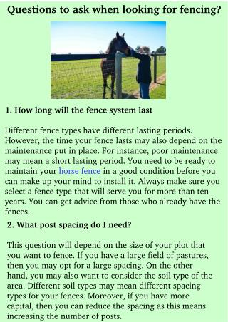 Questions to ask when looking for fencing?