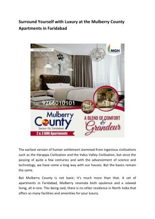 Surround Yourself with Luxury at the Mulberry County Apartments in Faridabad