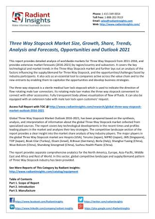 Three Way Stopcock Market Trends, Analysis and Outlook 2021 by Radiant Insights