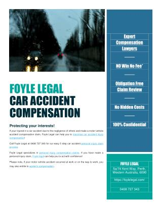 Foyle Legal helps you to maximise motor vehicle accident injury compensation