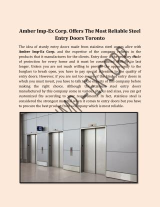 Amber Imp-Ex Corp. Offers The Most Reliable Steel Entry Doors Toronto
