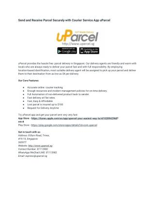 Send and Receive Parcel Securely with Courier Service App uParcel