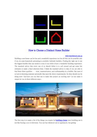 How to Choose a Distinct Home Builder