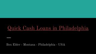 Quick Cash Loans in Philadelphia