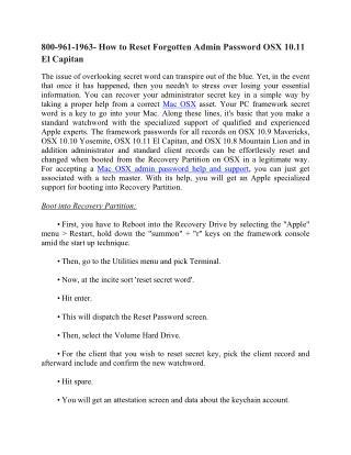 How to Reset Forgotten Admin Password OSX 10.11 El Capitan