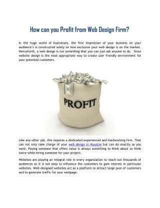 How can you Profit from Web Design Firm?