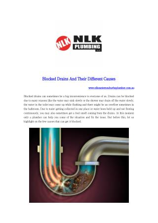 Blocked Drains And Their Different Causes