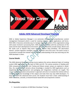 Online Training on Adobe AEM Advanced Developer Course