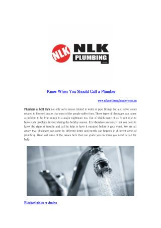 Know When You Should Call a Plumber