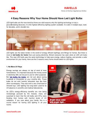 4 Easy Reasons Why Your Home Should Have Led Light Bulbs