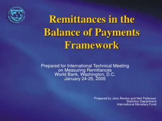 Remittances in the Balance of Payments Framework