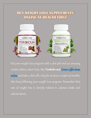 Buy Weight Loss Supplements Online at Health First