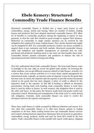 Ebele Kemery: Structured Commodity Trade Finance Benefits