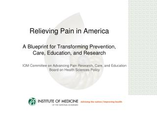 Relieving Pain in America  A Blueprint for Transforming Prevention, Care, Education, and Research