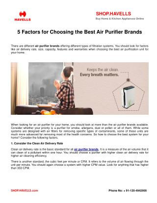 5 Factors for Choosing the Best Air Purifier Brands