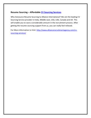 Resume Sourcing – Affordable CV Sourcing Services