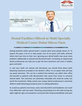 Multi Specialty Medical Center Dubai Silicon Oasis