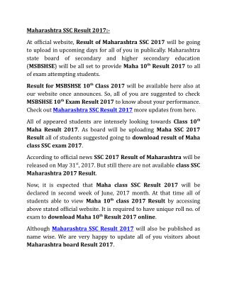 Maharashtra SSC Result 2017, Maha 10th Board Result