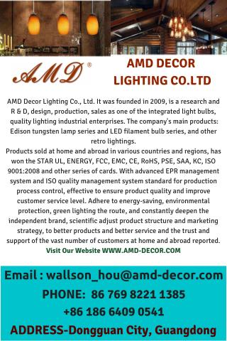 ANTIQUE LIGHTING, DECORATIVE LED BULBS, RETRO LIGHTING SUPPLIER - WWW.AMD-DECOR.COM