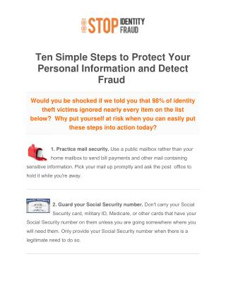 10 Steps To Better Identity Protection