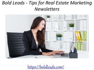 Bold Leads - Tips for Real Estate Marketing Newsletters