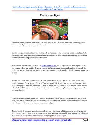 Casino Casinos en ligne - White Label pour tous les goûts - première partie