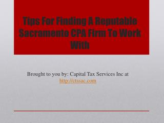 Tips for finding a reputable sacramento cpa firm to work with