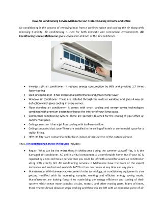 How Air Conditioning Service Melbourne Can Protect Cooling at Home and Office