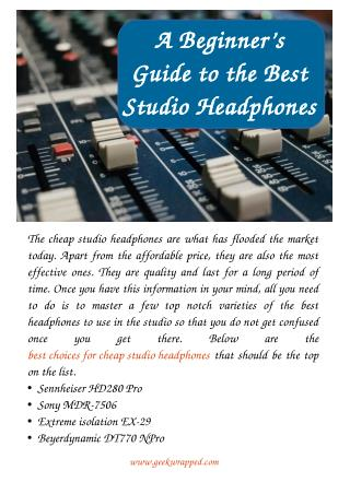 A Beginner's Guide to the Best Studio Headphones