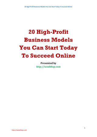 20 High-Profit Business Models You Can Start Today To Succeed Online