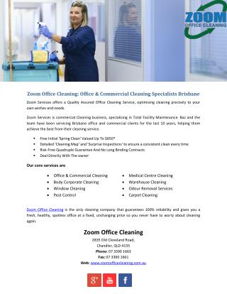 Zoom Office Cleaning: Office & Commercial Cleaning Specialists Brisbane