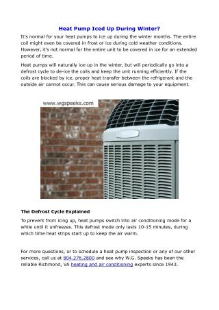 Heat Pump Iced Up During Winter?