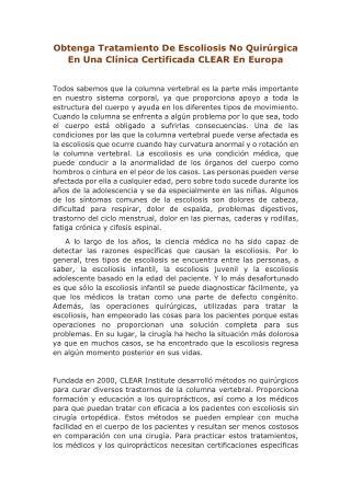 Obtenga tratamiento de escoliosis no quirúrgica en una clínica certificada CLEAR en Europa