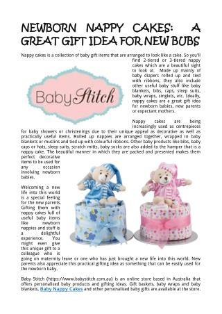 Newborn Nappy Cakes:  A Great Gift Idea for New Bubs