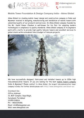 Mobile Tower Foundation & Design Company India