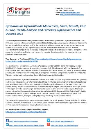 Pyridoxamine Hydrochloride Market Trends, Cost & Price, Opportunities and Outlook 2021