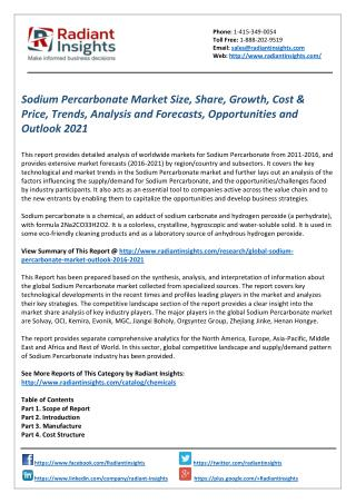 Sodium Percarbonate Market Forecasts, Opportunities and Outlook 2021