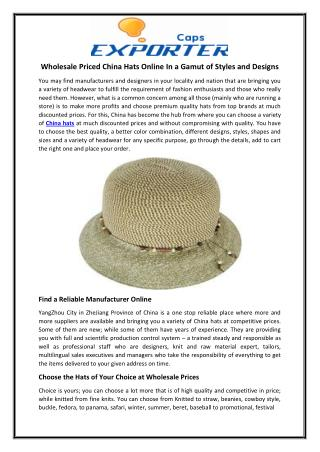 Wholesale Priced China Hats Online In a Gamut of Styles and Designs